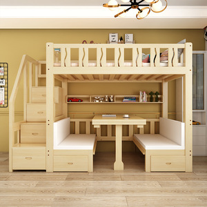 Children's bed/ Loft bed with Lift-able table & bench(M0186-d)